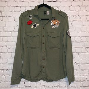 Divided Army Green Button Down Patch Top